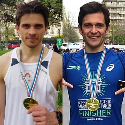 Stefano CANNAS et Pierre GROLEAU au marathon de Paris
